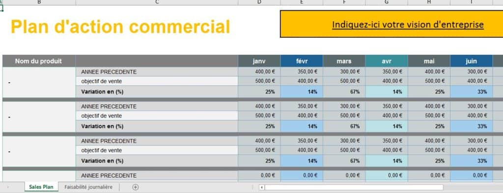 Plan d'action commercial excel