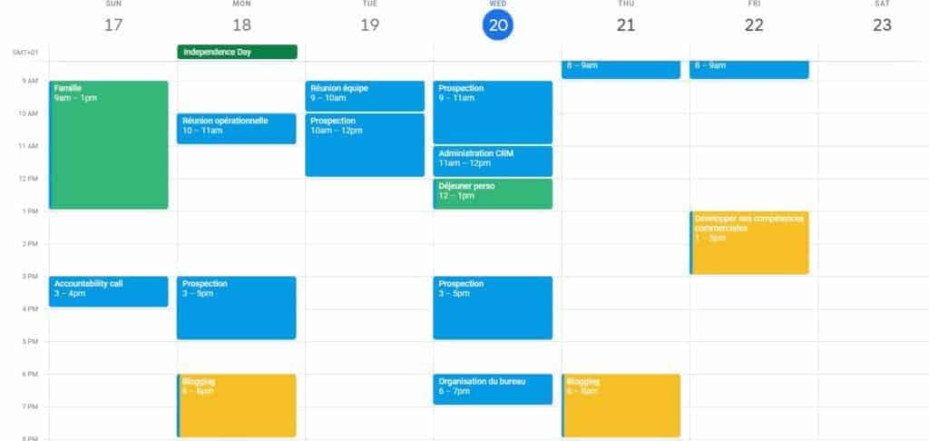 planifier sa semaine