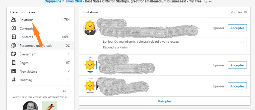 La liste de son réseau LinkedIn